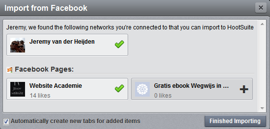 hootsuite how to add facebook page