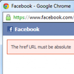 "WordPress Facebook error ""The href URL must be absolute"""