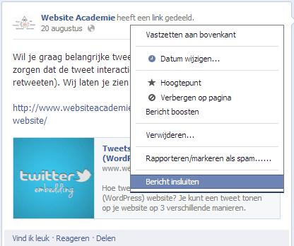 Facebook bericht insluiten op je website 2