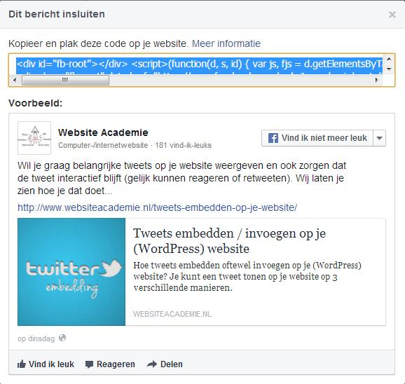Facebook bericht insluiten op je website 3