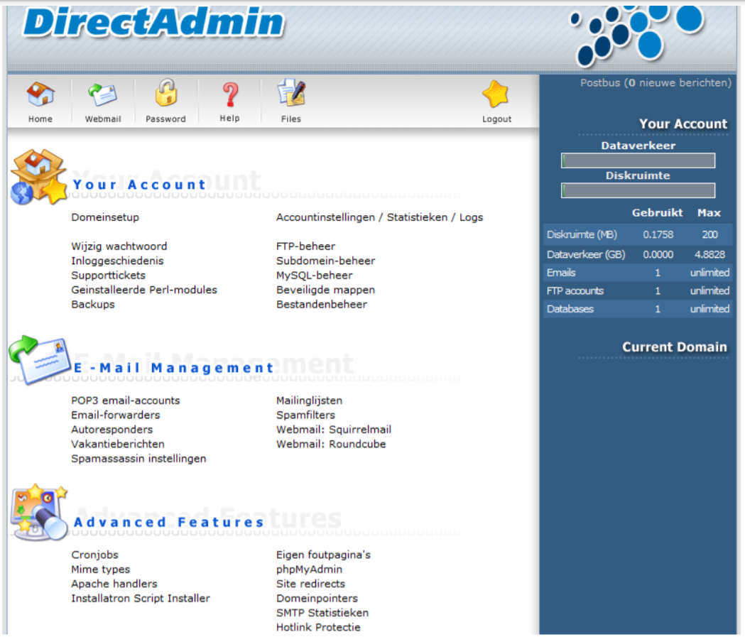 wordpress installeren directadmin