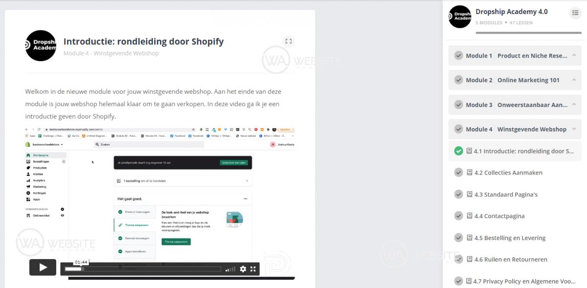 Dropship Academy 4.0 - Winstgevende Webshop